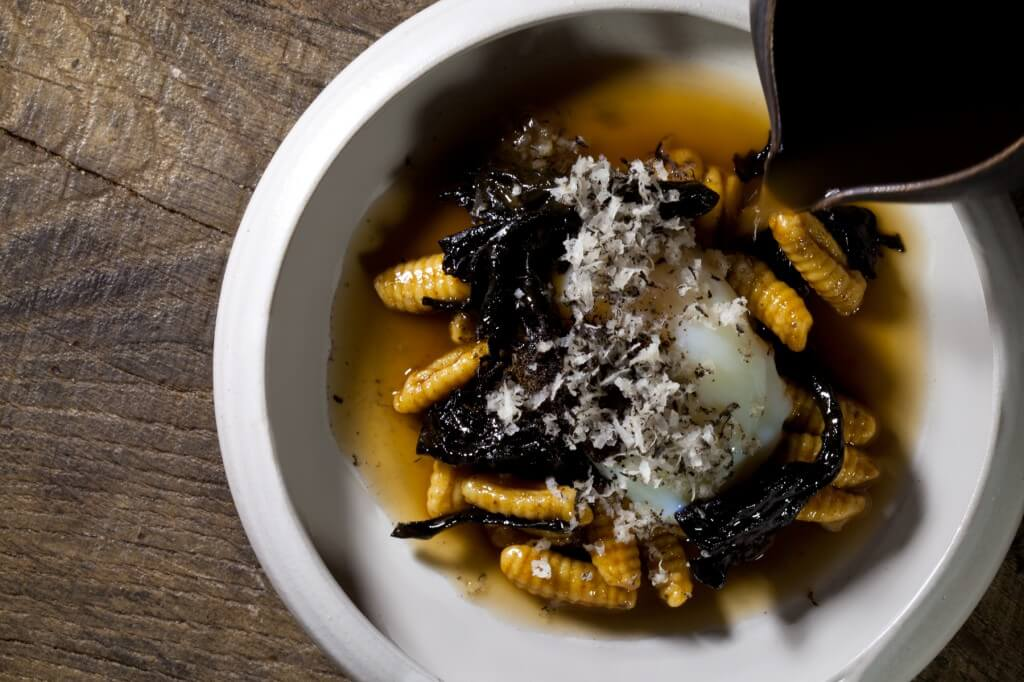 Poached Hen's Egg with Black Trumpet Cavatelli and Ginger