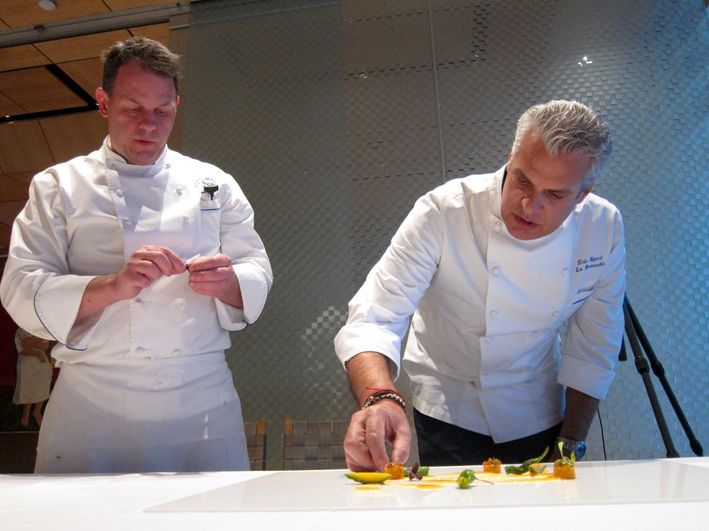 Chefs Eric Ripert & Adam Pitt staging the final presentation for the Black Bass with Ceviche & Chicha Sauce