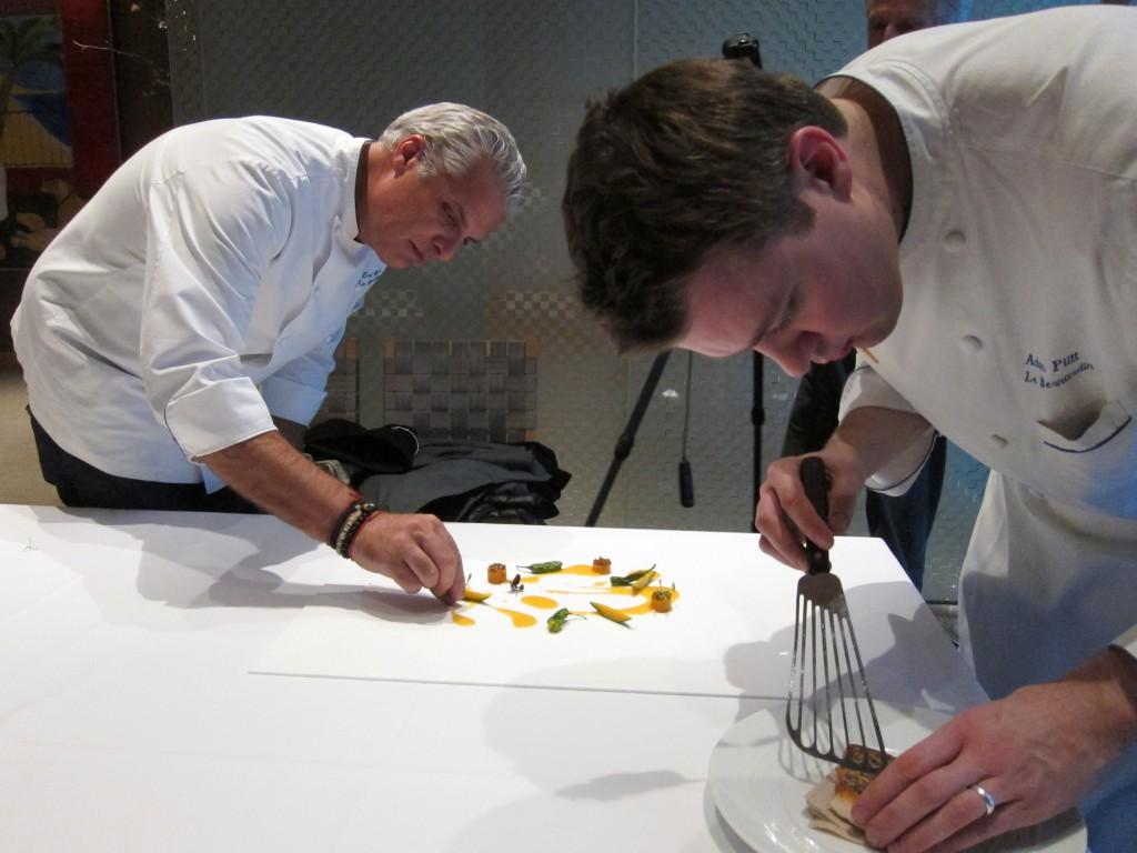 Chefs Eric Ripert and Adam Pitt prepare Black Bass with Ceviche & Chicha Sauce