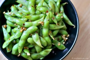 Pictured: Edamame made with Chauhan's spice Burger Madness