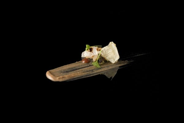 Cured Fluke with Milk Skin, Black Chickpea Puree, Berberis Sause and Pickled Ramps by Wylie Dufrense, from the Small Things Savory eBook, Photo by Battman