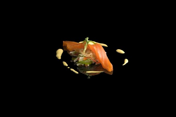 Curied tasmanian Sea Trout with Lotus Root and Curry Remoulade by Martin Brock, from the Small Things Savory eBook, Photo by Battman