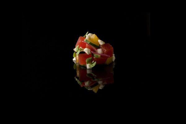 Heirloom Tomato, Watermelon and Feta Cheese Salad by Jeremy Bearman, from the Small Things Savory eBook, Photo by Battman