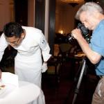 Exec Chef Ashfer Biju makes sure the samosas look their best. Battman behind the lense.