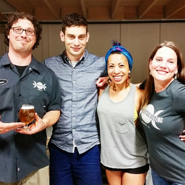 Yana Gilbuena with sponsors from Vermont's 4 Quarters Brewery