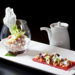 Saku Tuna Two Ways: Sashimi of Tuna with Tomatoes, Coconut, Chili Oil and Ceviche of Tuna with Yuzu, Green Apple, and Rice Paper Chips from Executive Chef Ashfer Biju