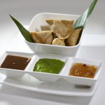 Chicken Samosas in Cumin Scented Pastry, with Mint & Tamarind Chutneys by Executive Chef Ashfer Biji