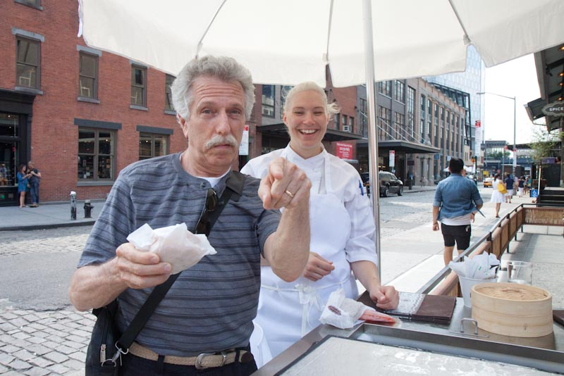 Battman tries an ice cream sandwich created by Pastry Chef Christina Kaelberer of Spice Market