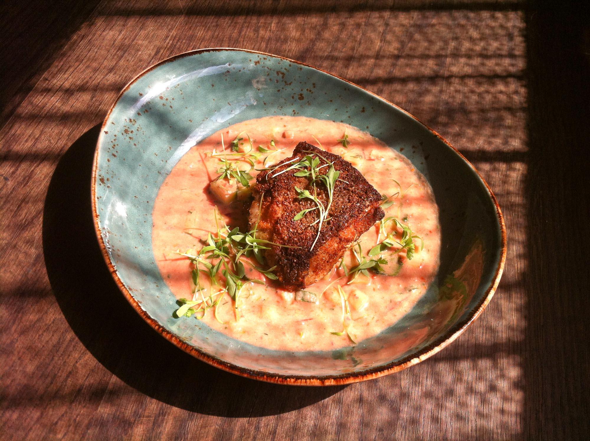 Coriander Cumin-Crusted Tilefish with peanut gazpacho. Chef JJ Johnson's dish for Battman's next book: Crossing Borders