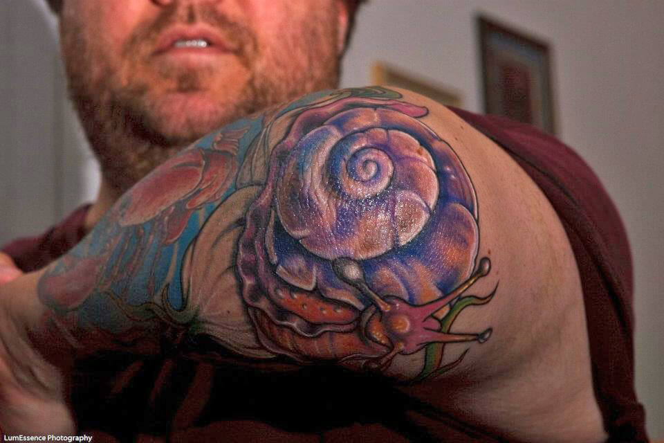 "Chef Chris Richter's Left Elbow ""Snail On Garlic"" Tattoo"