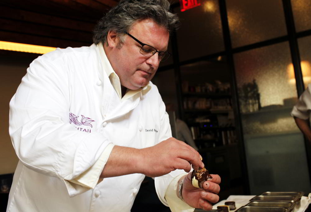 Chef David Burke prepares ice cream.