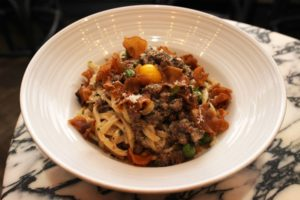 Duck Carbonara by Chef Ed Cotton.