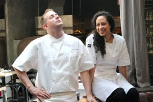 Chef Ed Cotton and his Sous Chef Patricia Vega at a photo shoot.