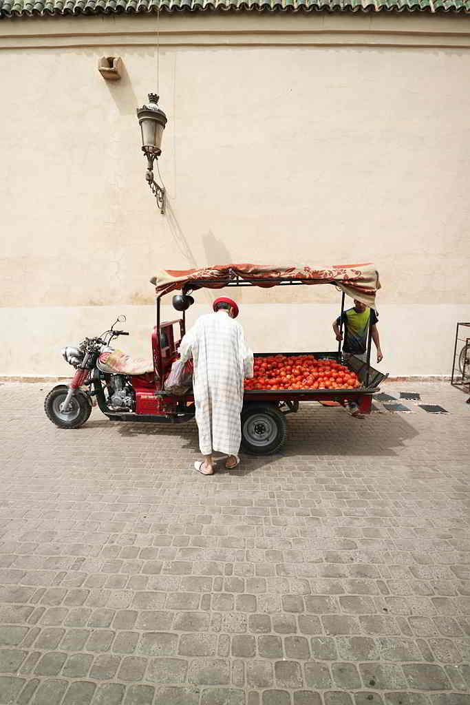Fruit cart vendor seen in Marrakesh. 2017