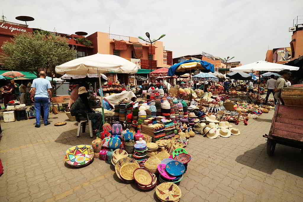 Colorful baskets on sale at a local market. Marrakesh. 2017