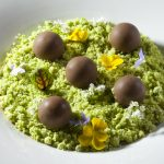 Chocolate Custard with Mint Moss and Chocolate Truffles by Antonio Bachour. Photo by Battman.