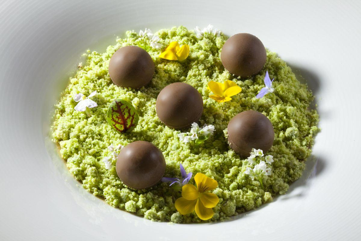 Chocolate Custard with Mint Moss and Chocolate Truffles by Antonio Bachour. Photo by Battman.