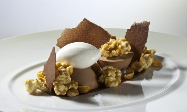 Chocolate Mousse with Candied Peanuts and Popcorn by Antonio Bachour. Photo by Battman. Bachour Simply Beautiful eBook, 2017