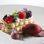 Coconut Napoleon with Raspberry Sorbet by Antonio Bachour. Photo by Battman.