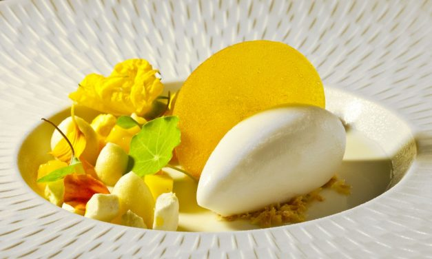 Coconut Panna Cotta with Passion Fruit and Coconut Sorbet by Antonio Bachour. Photo by Battman. Bachour eBook, 2017