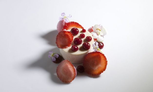 Guava Cheesecake with Strawberries by Antonio Bachour. Photo by Battman. Bachour Simply Beautiful eBook, 2017