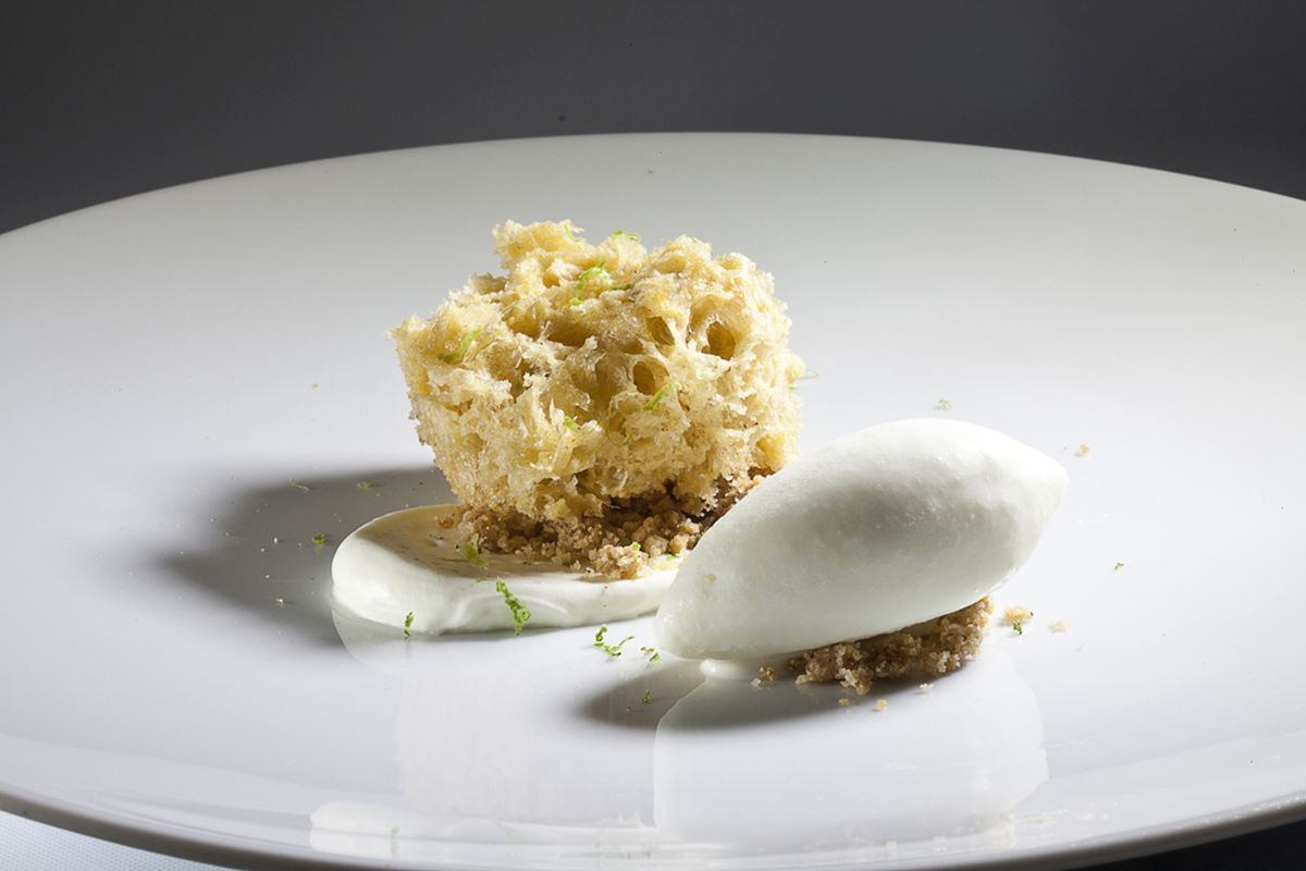 Lime Mousseline, Toasted Sesame Seed Sponge Cake & Ginger Ice Cream by Antonio Bachour. Photo by Battman.