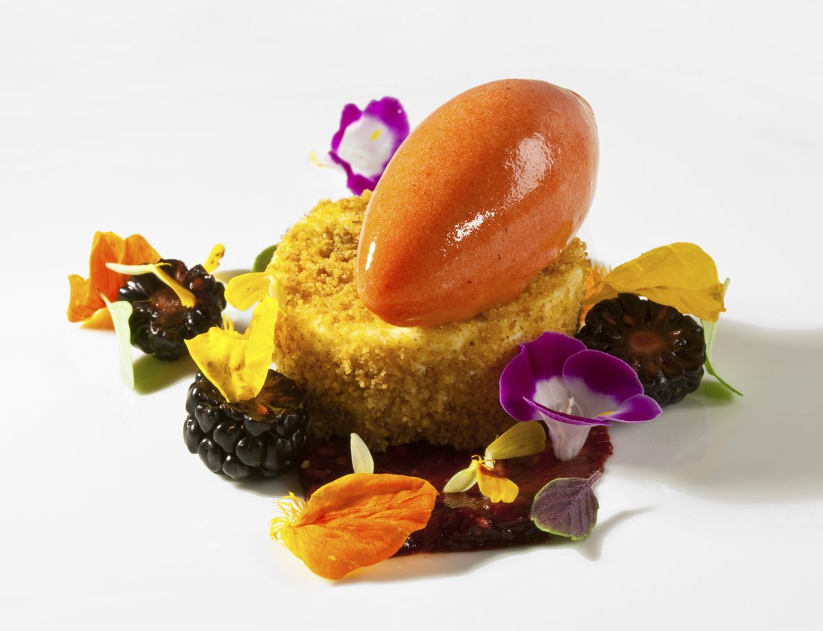 Manchego Cheesecake with Blackberry Puree & Strawberry Sorbet by Antonio Bachour. Photo by Battman.