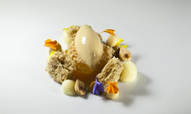 Passion Fruit Gelee, Hazlenut Sponge Cake and Hazelnut Ice Cream by Antonio Bachour. Photo by Battman. Bachour Simply Beautiful eBook, 2017
