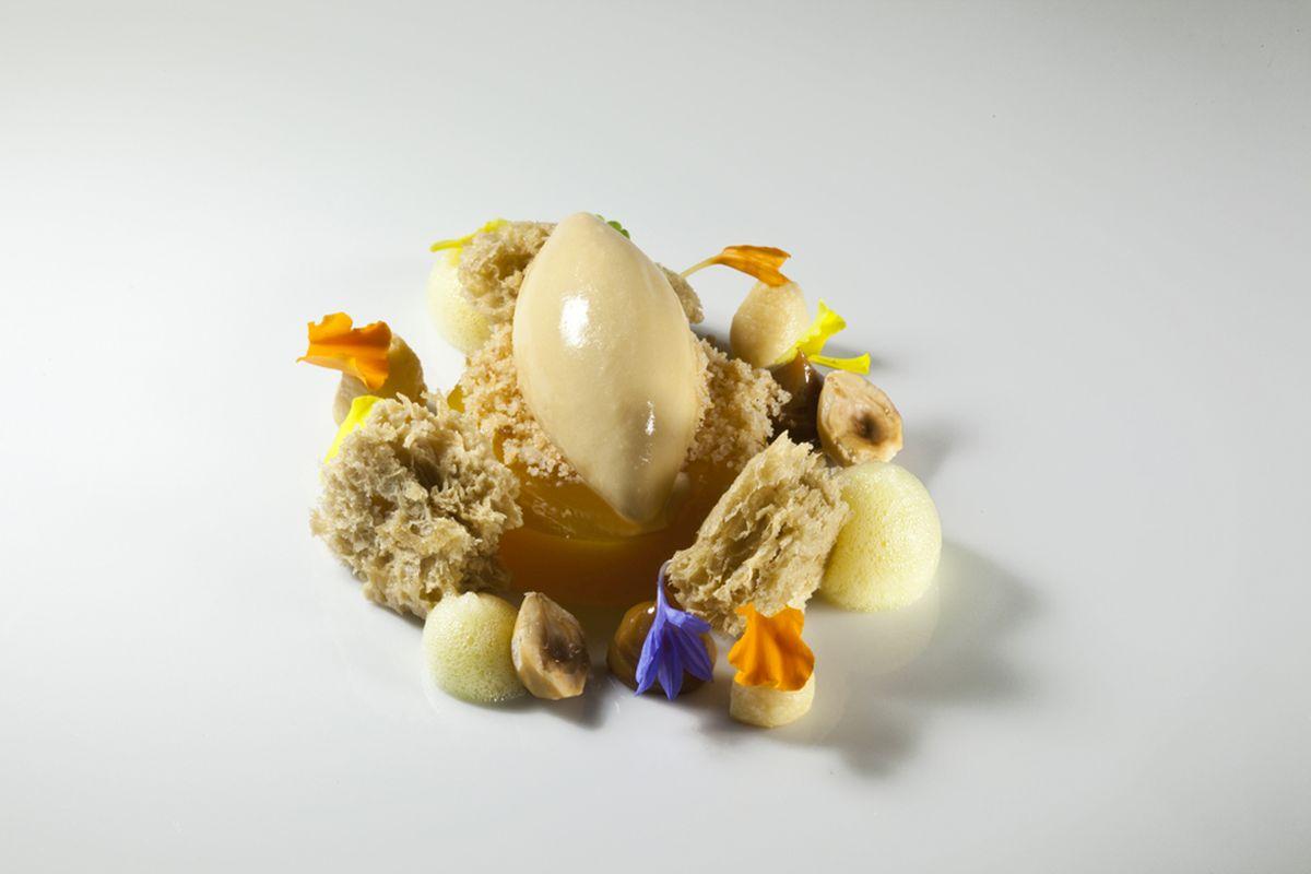 Passion Fruit Gelee, Hazlenut Sponge Cake and Hazelnut Ice Cream by Antonio Bachour. Photo by Battman.
