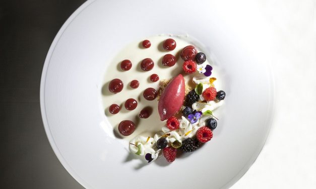 Sheep's Yogurt Panna Cotta with Berries, Lime Cremeux and Berry Sorbet by Antonio Bachour. Photo by Battman. Bachour Simply Beautiful eBook, 2017