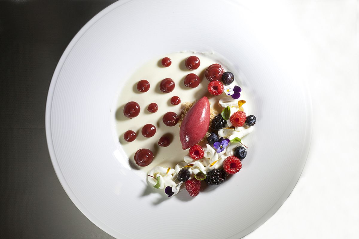 Sheep's Yogurt Panna Cotta with Berries, Lime Cremeux and Berry Sorbet by Antonio Bachour. Photo by Battman.