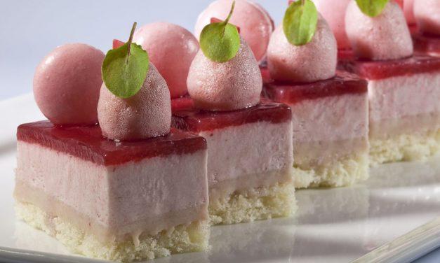Strawberry mousse cake by Antonio Bachour. Photo by Battman. Bachour eBook, 2017