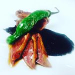Roasted Squab, Spiced Red Cabbage, Prunes, Red Wine, Shishito, Cumin Salt
