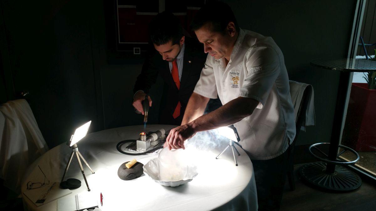 Chef Petrice de Felice preparing a smoking presentation.