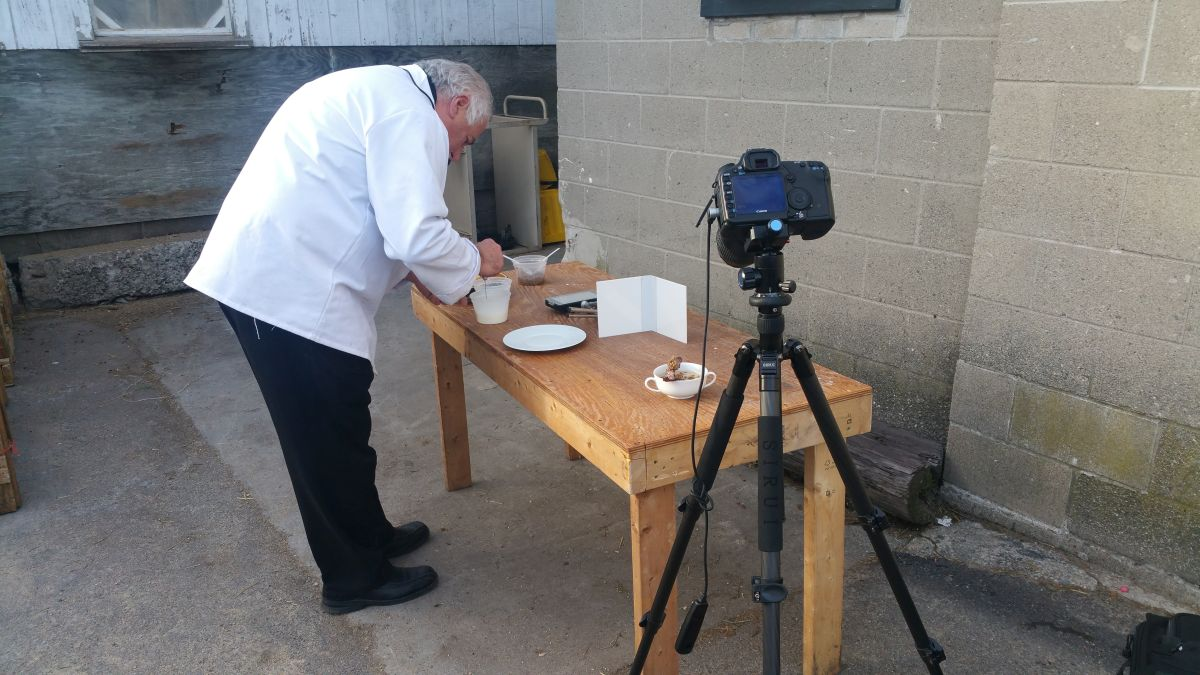 Chef Raymond Ost preparing for a photo shoot.