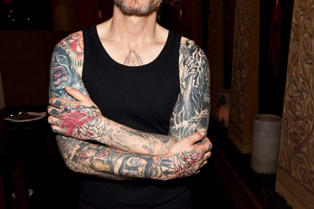 Steven Hubbell's sleeve tattoos.