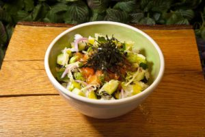 Rising Sun Poke with Salmon by Chef Adin Langille. Photo by Battman.