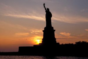 Statue of Liberty at sunset. Photo by Battman.