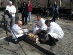 Chef Jean-George Vongerichten and team preparing for the Street Eats book photoshoot. Photo by battman.
