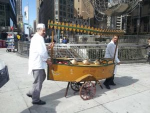 Chef Joe Murphy and his prop cart for the Street Eats book. Photo by Battman.