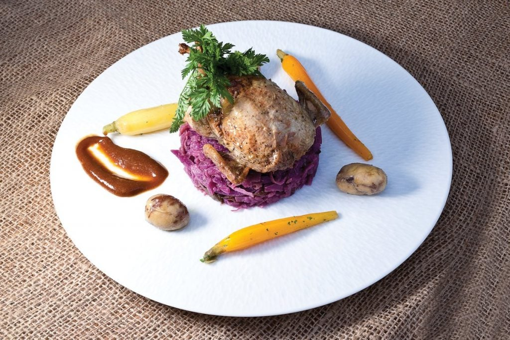 Foie gras stuffed quail by Chef Raymond Ost, Master Chefs of France, 2017, Photo by Battman